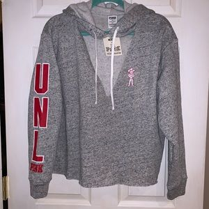 PINK UNL Huskers V-neck Hoodie - NWT